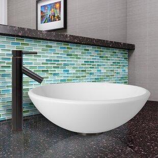 Price comparison Phoenix Stone Circular Vessel Bathroom Sink with Faucet By VIGO
