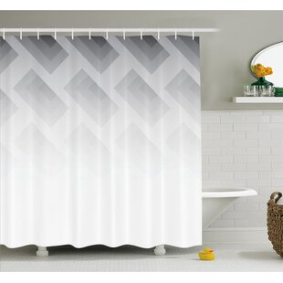 Blur Poster Display with Simplistic Square Shapes Contemporary Trendy Illusion Shower Curtain Set