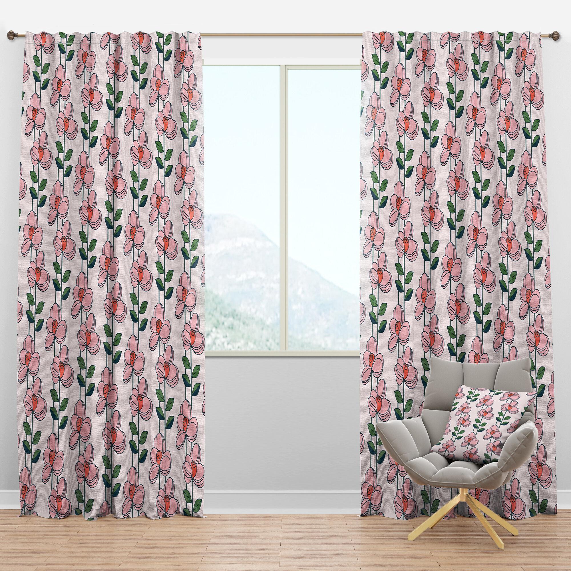 Designart Botanical Xii Floral Semi Sheer Thermal Rod Pocket Single Curtain Panel Wayfair