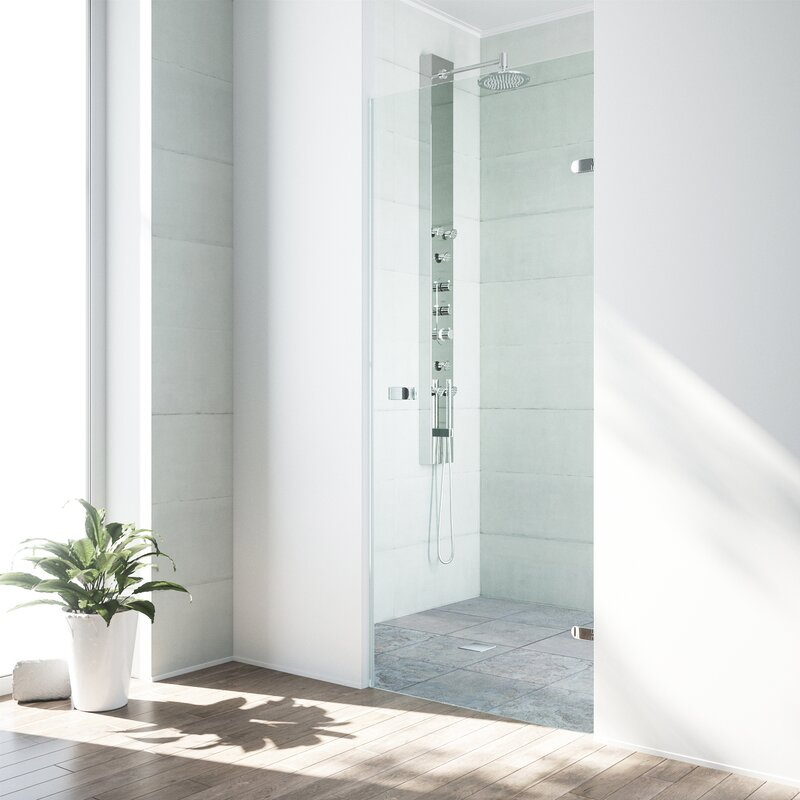 "VIGO  Tempo 26.5"" x 70.63"" Hinged Frameless Shower Door with MagnaLock Technology Finish: Chrome"
