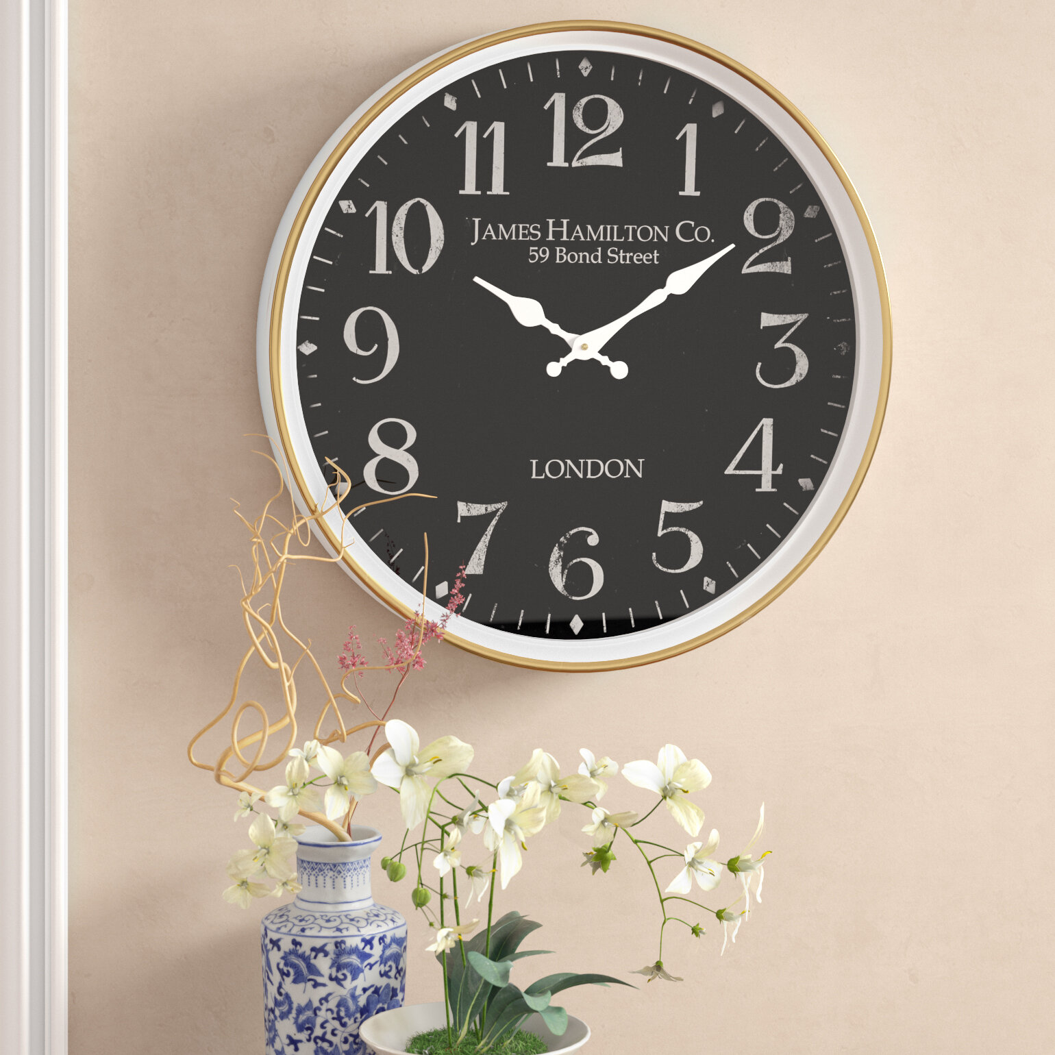 Alcott Hill Burg Contemporary London Inspired Vintage Wall Clock Reviews Wayfair