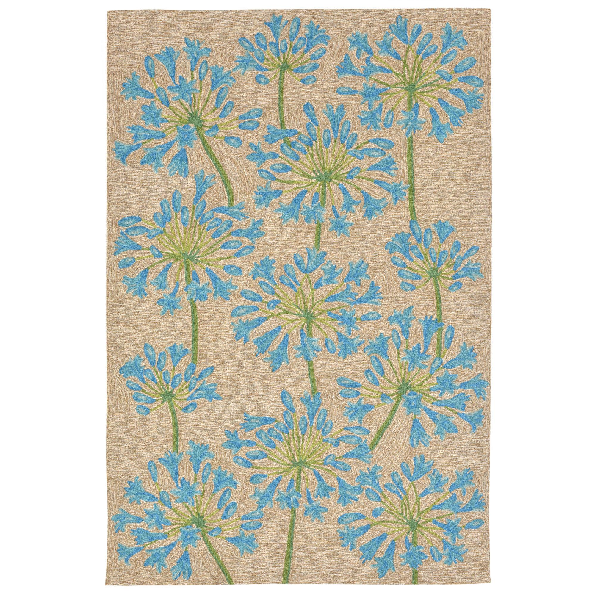 August Grove Dazey Lily Hand Tufted Beige Blue Indoor Outdoor Area Rug Reviews Wayfair