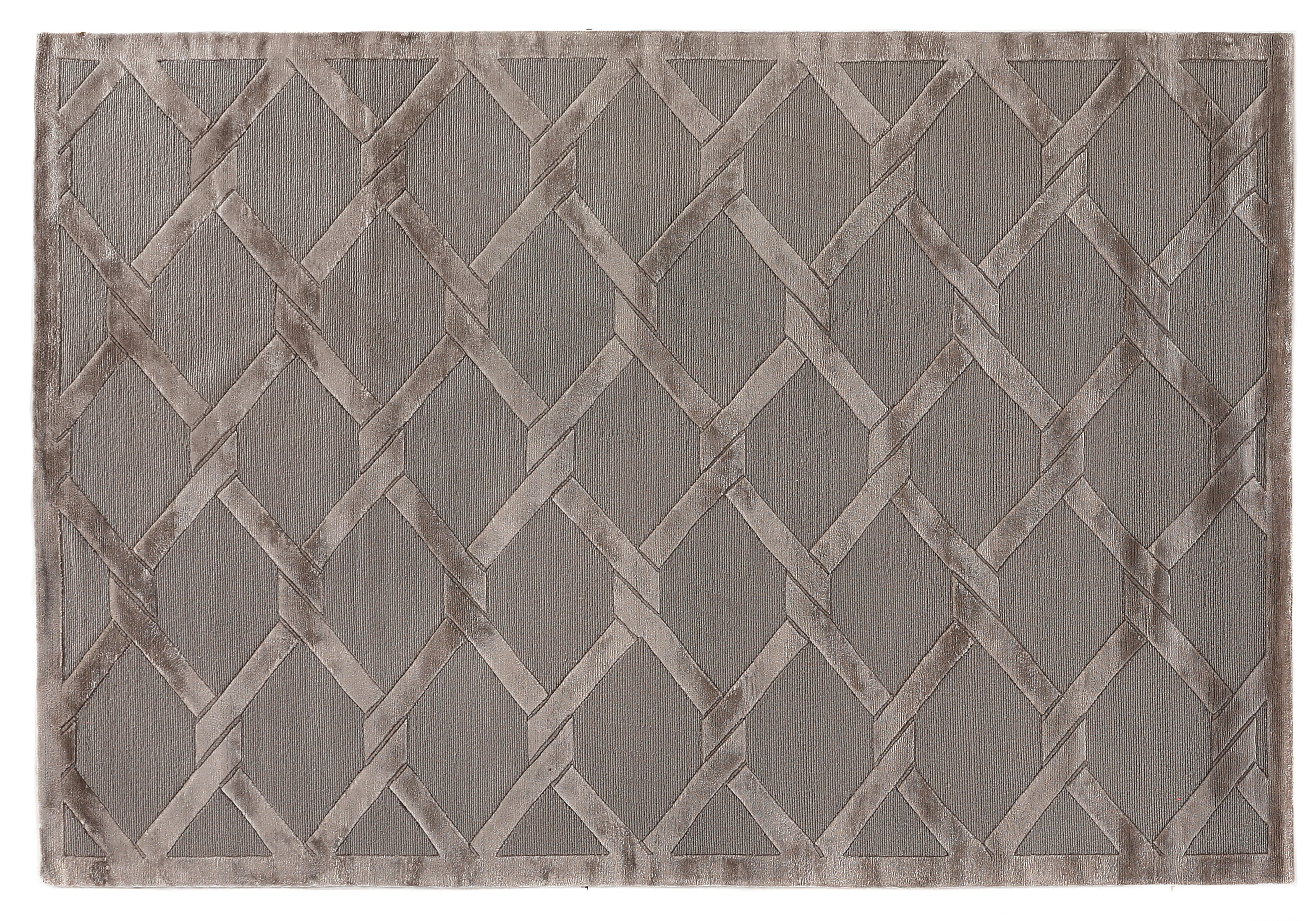 Exquisite Rugs Metro Velvet Geometric Hand Knotted Wool Silk Dark Gray Brown Area Rug Perigold
