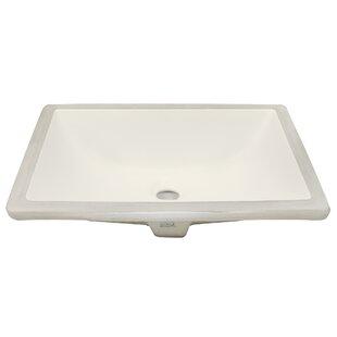 Belfast Series Ceramic Rectangular Undermount Bathroom Sink with Overflow ByTicor Sinks
