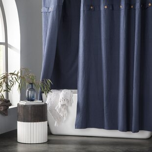 Carmella Waffle 100 Cotton Single Shower Curtain