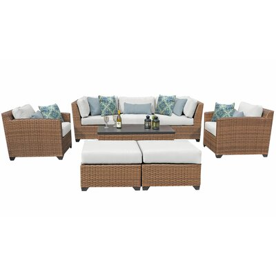 Sol 72 Outdoor Waterbury 8 Piece Rattan Sofa Seating Group with Cushions Cushion Color: Spa
