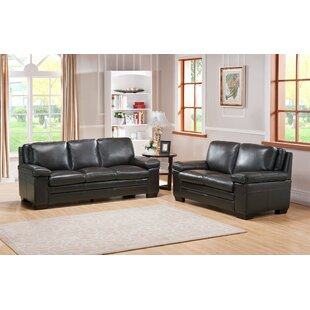 Devry 2 Piece Gray Leather Living Room Set
