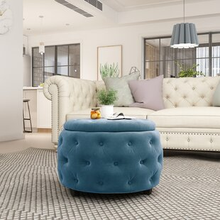 Excellent Sylvester Round Tufted Storage Ottoman Dailytribune Chair Design For Home Dailytribuneorg