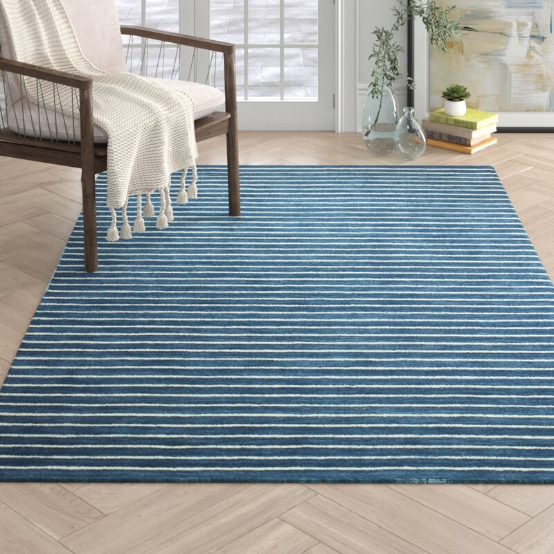Arcadia Striped Hand Knotted Wool Azure Area Rug Reviews Joss Main