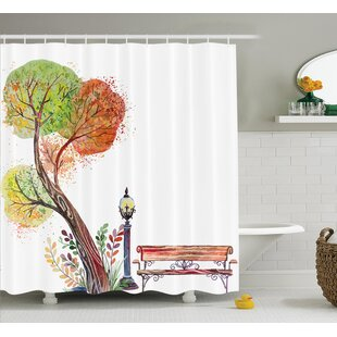 Clovis Tree and Bench Drawing Decor Single Shower Curtain