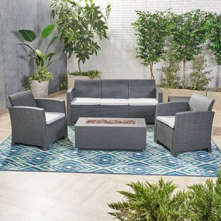 Jacksonville Outdoor 5 Piece Rattan Sofa Seating Group with Cushions