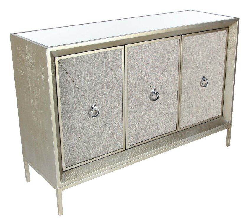 Brayden Studio Cutshaw Sturdy Wood Mirror Fabric 3 Door Accent ...