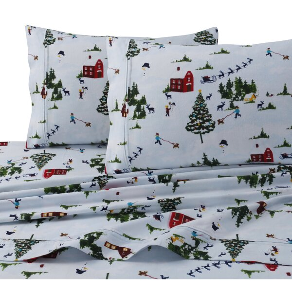 North Pole Print 4 Piece 100% Cotton Sheet Set