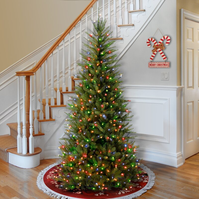 Next Slim Christmas Tree: Red Barrel Studio Slim Green Fir Artificial Christmas Tree