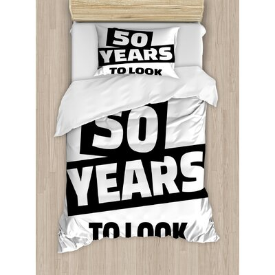 50th Birthday Decorations Funny Happy Expression Self Confidence Themed Pictogram Style Duvet Cover Set