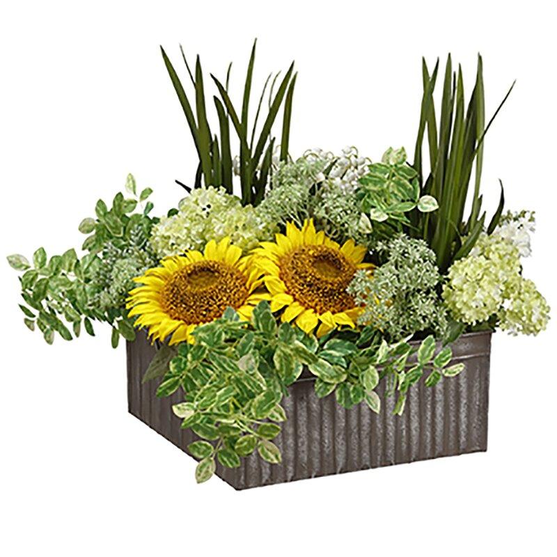 Silksareforever 17 Hx22 W Sunflower Succulent Snowball Silk Flower Arrangement Yellow Green Wayfair