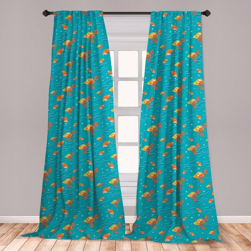 East Urban Home Hermit Crab Room Darkening Rod Pocket Curtain Panels Wayfair