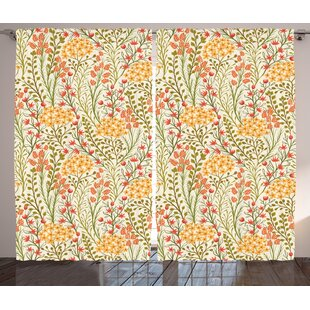 Carew Flower Graphic Print & Text Semi-Sheer Rod Pocket Curtain Panels (Set of 2) by Alcott Hill