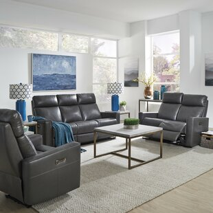 Pell Power Motion Reclining 3 Piece Leather Living Room Set