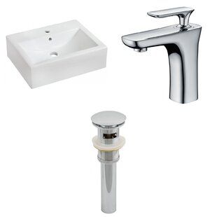 Reviews Ceramic 20 Wall-Mount Bathroom Sink with Faucet and Overflow By Royal Purple Bath Kitchen