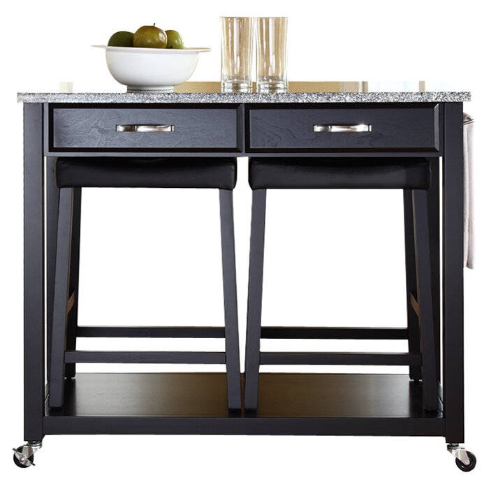 Three Posts Haslingden Kitchen Island Set With Granite Top Reviews Wayfair