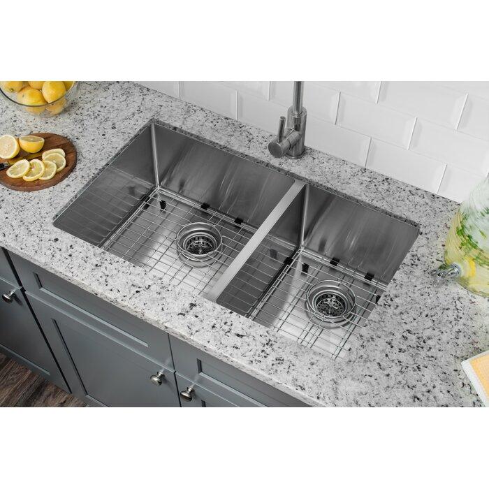 Radius 16 Gauge Stainless Steel 32\'\' x 19\'\' 60/40 Double Bowl Undermount  Kitchen Sink with Gooseneck Faucet