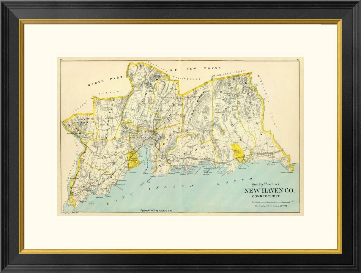 Global Gallery Connecticut New Haven County South 1893 Framed Graphic Art Wayfair