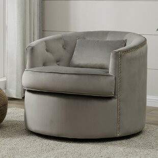 Donahue Velvet Nailhead Tufted Swivel Barrel Chair