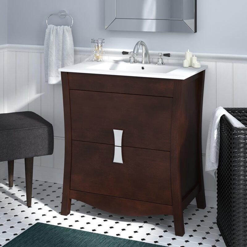 Ebern Designs Karter Wood Floor Mount 30 Single Bathroom Vanity Set Wayfair