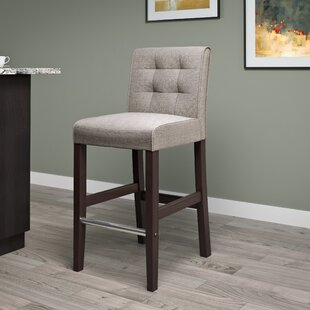 Celia 31 Bar Stool in , Gray Tweed Fabric Latitude Run