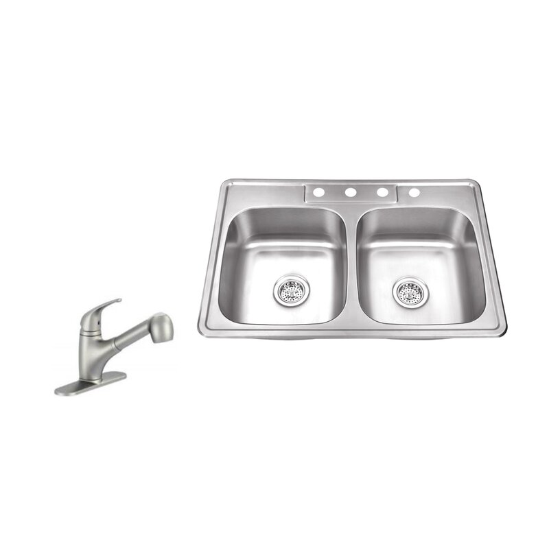 33 L X 22 W Double Bowl Drop In Stainless Steel Kitchen Sink With