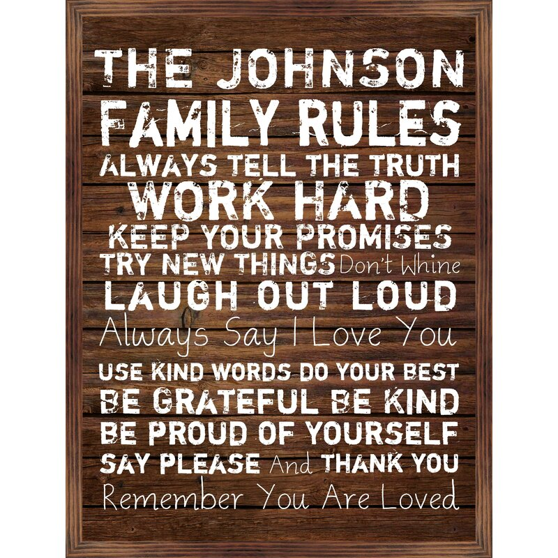 Ptm Personalized Family Rules Picture Frame Textual Art Print On Wood Wayfair