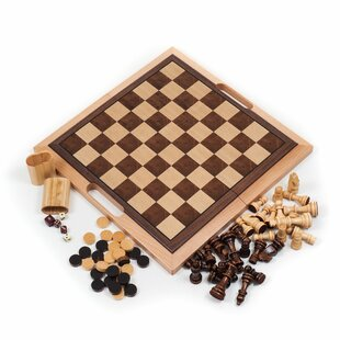 Wooden 3-in-1 Chess Backgammon and Checker by Hey! Play!