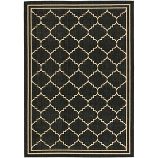 Short Black/Creme Indoor/Outdoor Area Rug
