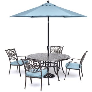 Carleton 5 Piece Bold & Eclectic Modern Dining Set with Cushions