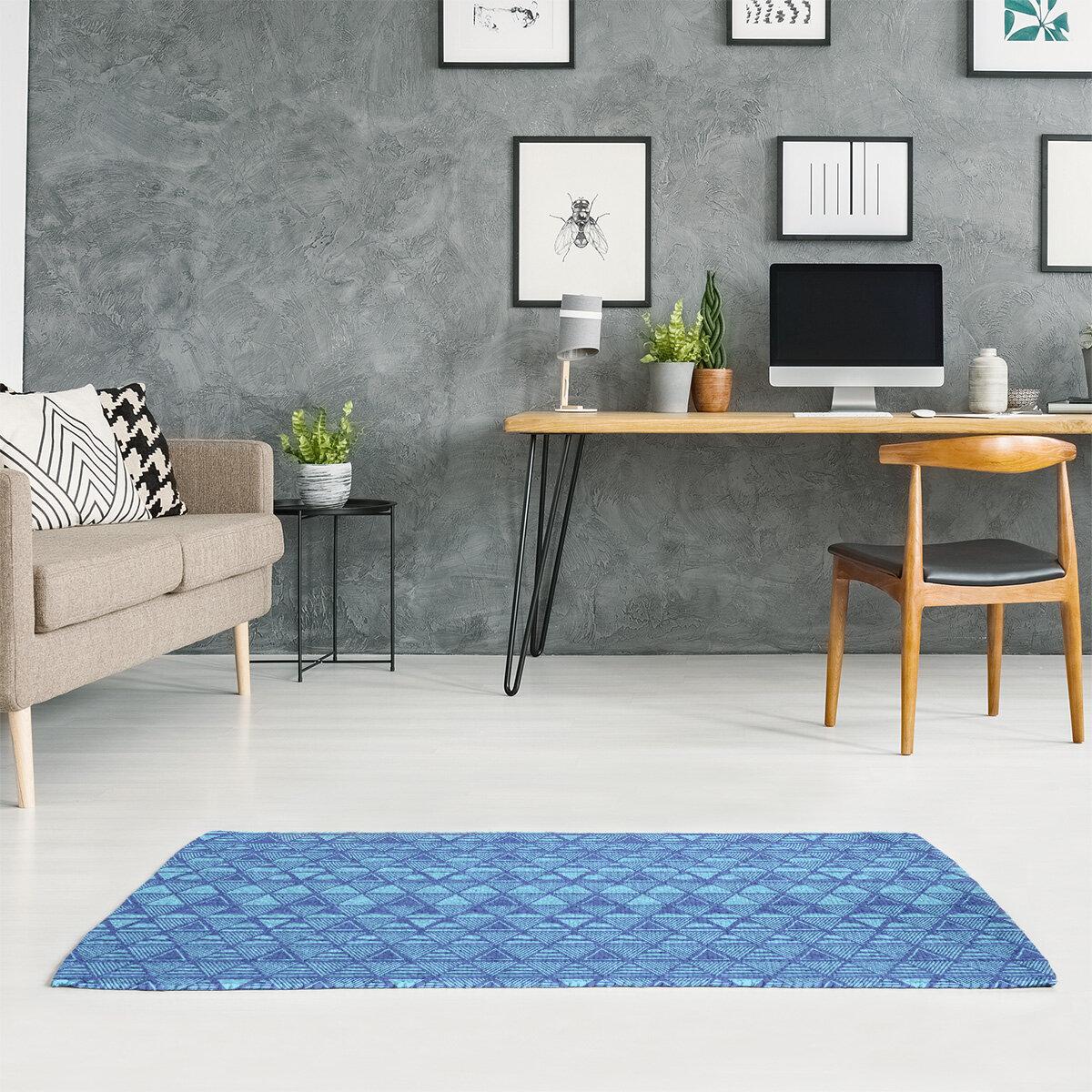East Urban Home Hand Drawn Triangles Blue Area Rug Wayfair
