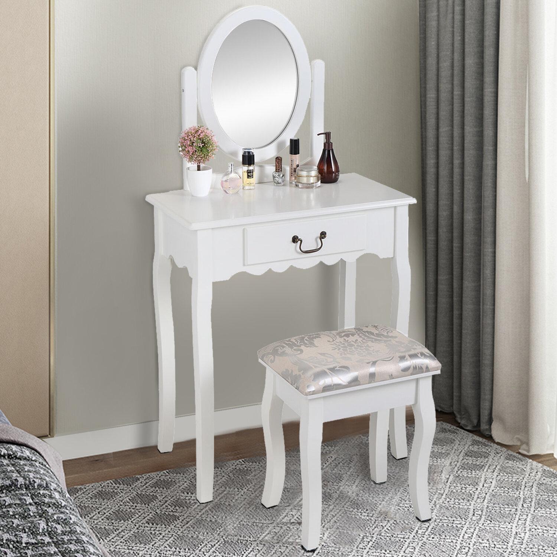 House Of Hampton Renick Vanity Set With Stool And Mirror Wayfair