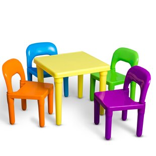 Borges Plastic Kids 5 Piece Table and Chairs Set by Harriet Bee