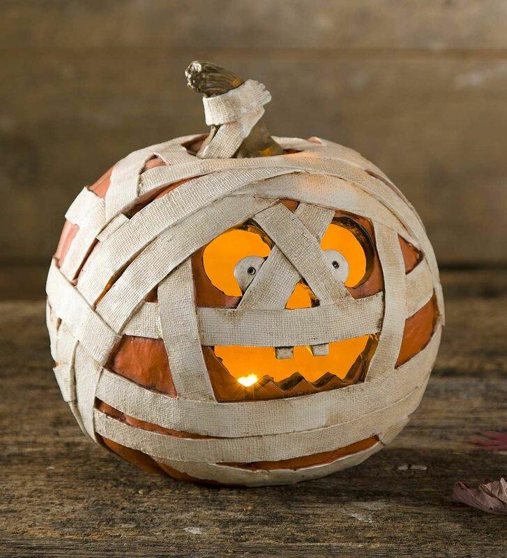 Short Igor Lighted Mummy Pumpkin