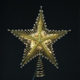 95 lighted glittered and beaded star christmas tree topper