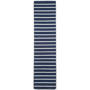 Low priced Ranier Pinstripe Hand-Woven Navy Indoor/Outdoor Area Rug By Beachcrest Home