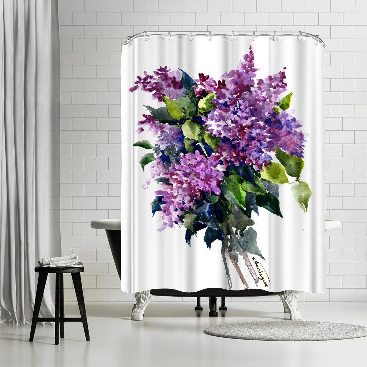 East Urban Home Suren Nersisyan Lilac Flowers 2 Single Shower Curtain Wayfair