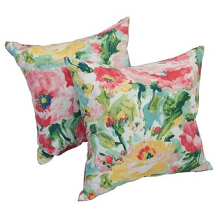 Amaris Square Watercolor Outdoor Throw Pillow (Set of 2)