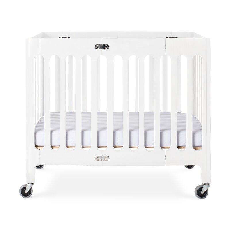 Foundations Boutique Folding Mini Portable Crib with Mattress