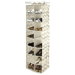 Compare prices Textured Chevron 16-Compartment Hanging Shoe Organizer By Macbeth Collection