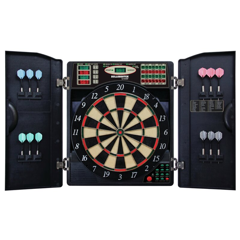 arachnid e bristle 3 piece 1000 led electronic dartboard and cabinet rh wayfair com electronic dartboard cabinet set electronic dart board cabinets for sale