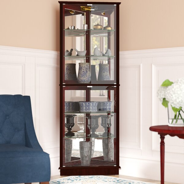 Andover Mills Randalstown Lighted Corner Curio Cabinet Reviews Interesting Glass Corner Display Units For Living Room Ideas