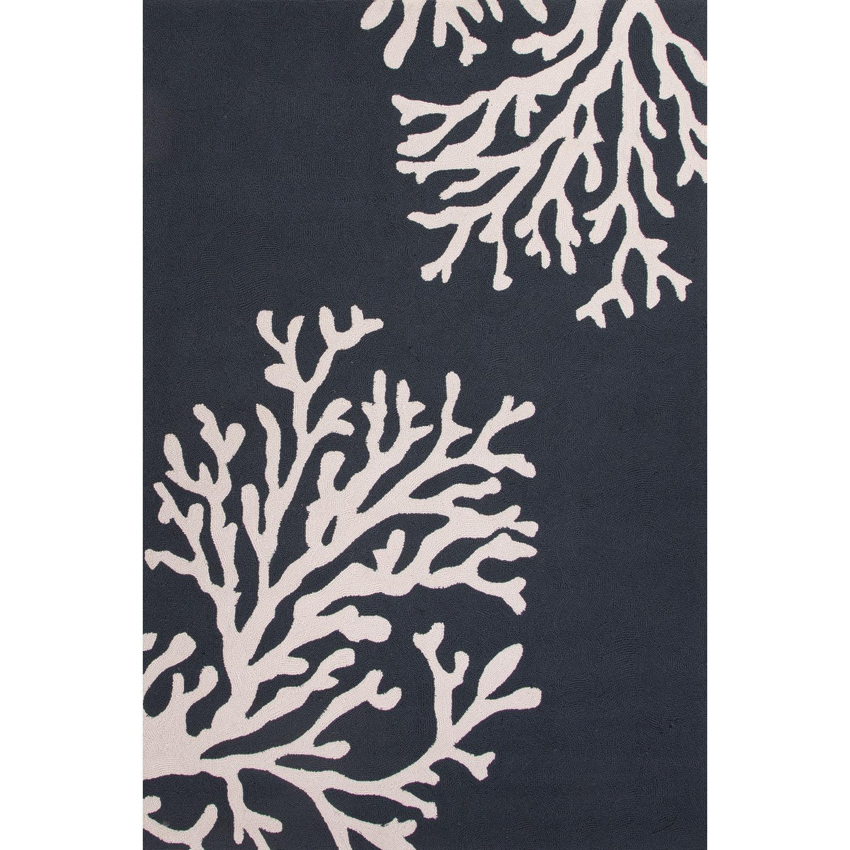 Handmade Looped Blue Ivory Area Rug