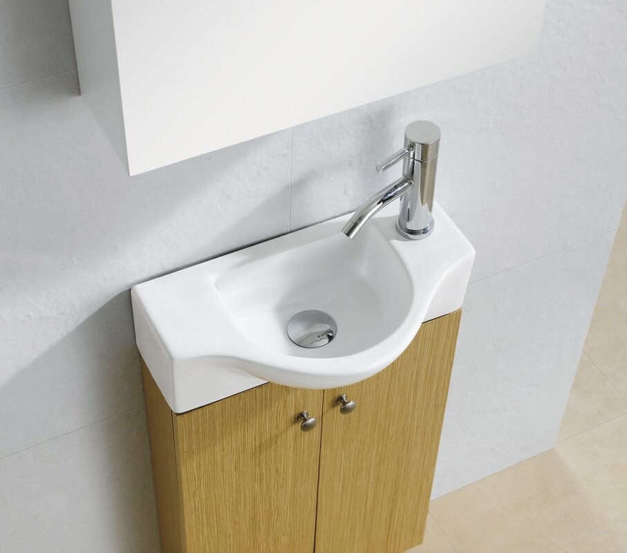 Modern Ceramic 18 Wall Mount Bathroom Sink