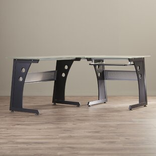 Bramblett Glass L-Shape Computer Desk